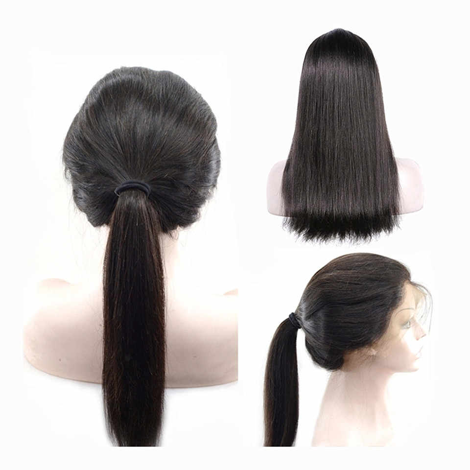 Прямой прозрачный полный шнурок человеческих волос парики кружева Закрытие человеческих волос парики для женщин 150% плотность длинные бразильские кружева Фронтальная