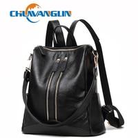 Chuwanglin Casual Genuine Leather backpack women fashion school bags Simple travel bag mochila feminina Daily backpack CY30