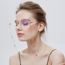 Gold Stainless Steel Shining Beads Eyeglasses Chains Reading Glasses Sunglasses Strap Cord Holder Ne