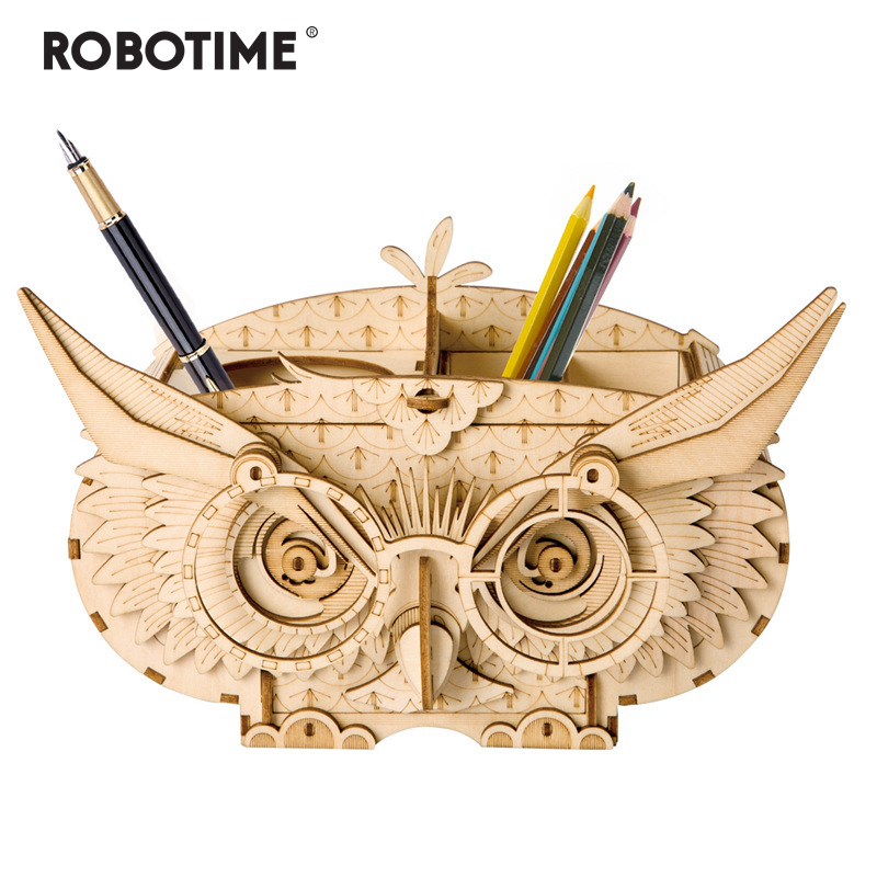Robotime 7 Kinds DIY 3D Wooden Animal&Building Puzzle Game Assembly Toy Gift For Children Kids Adult Model Kits TG207