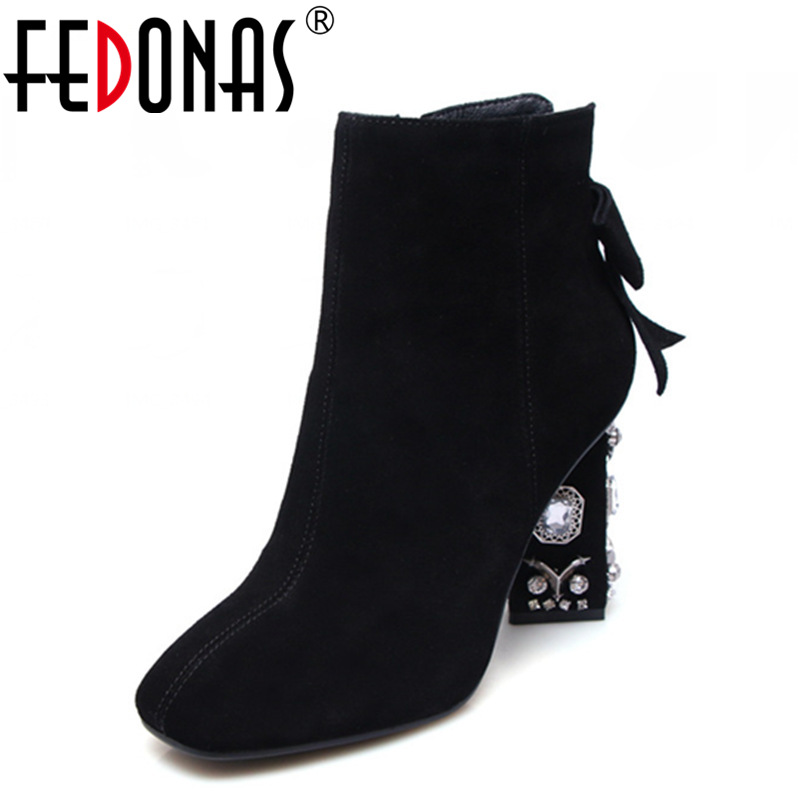 FEDONAS Sexy Crytal High Heeled Women Ankle Winter Snow Boots Women Genuine Leather Dress Party Shoes Woman Ladies Martin Boots fedonas top quality winter ankle boots women platform high heels genuine leather shoes woman warm plush snow motorcycle boots