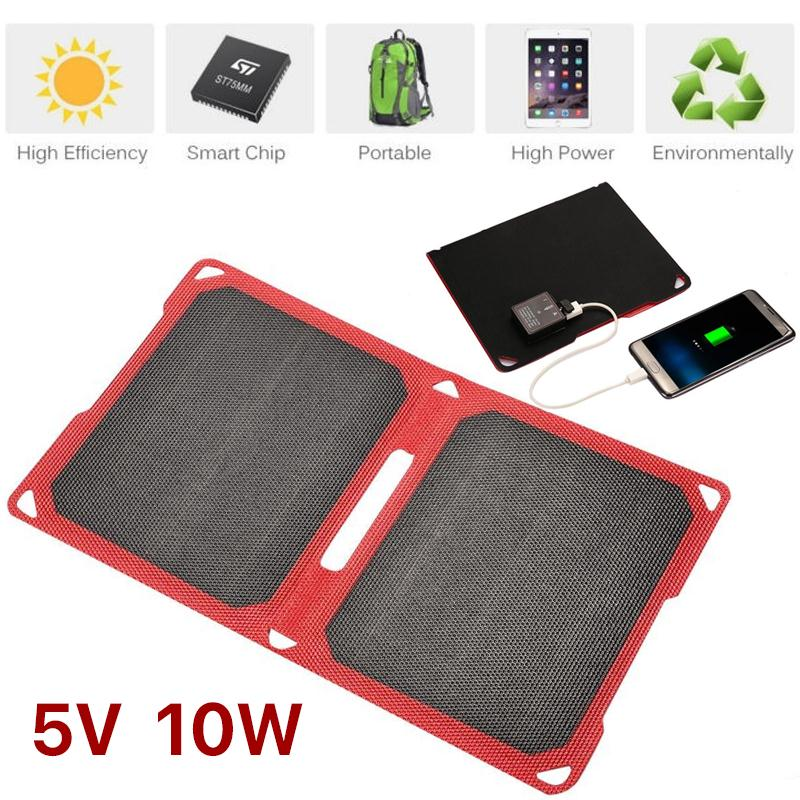 MVPower Foldable Solar Panel 5V 10W /1W 6V Dual USB Output Solar Power Bank Charger For Smart Phone Polycrystalline Solar Panel