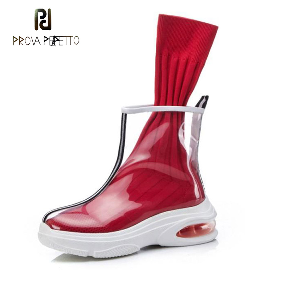 Prova Perfetto new fashion transparent thick bottom ankle boots knitting sock stretch female boots round toe comfort flats shoesProva Perfetto new fashion transparent thick bottom ankle boots knitting sock stretch female boots round toe comfort flats shoes
