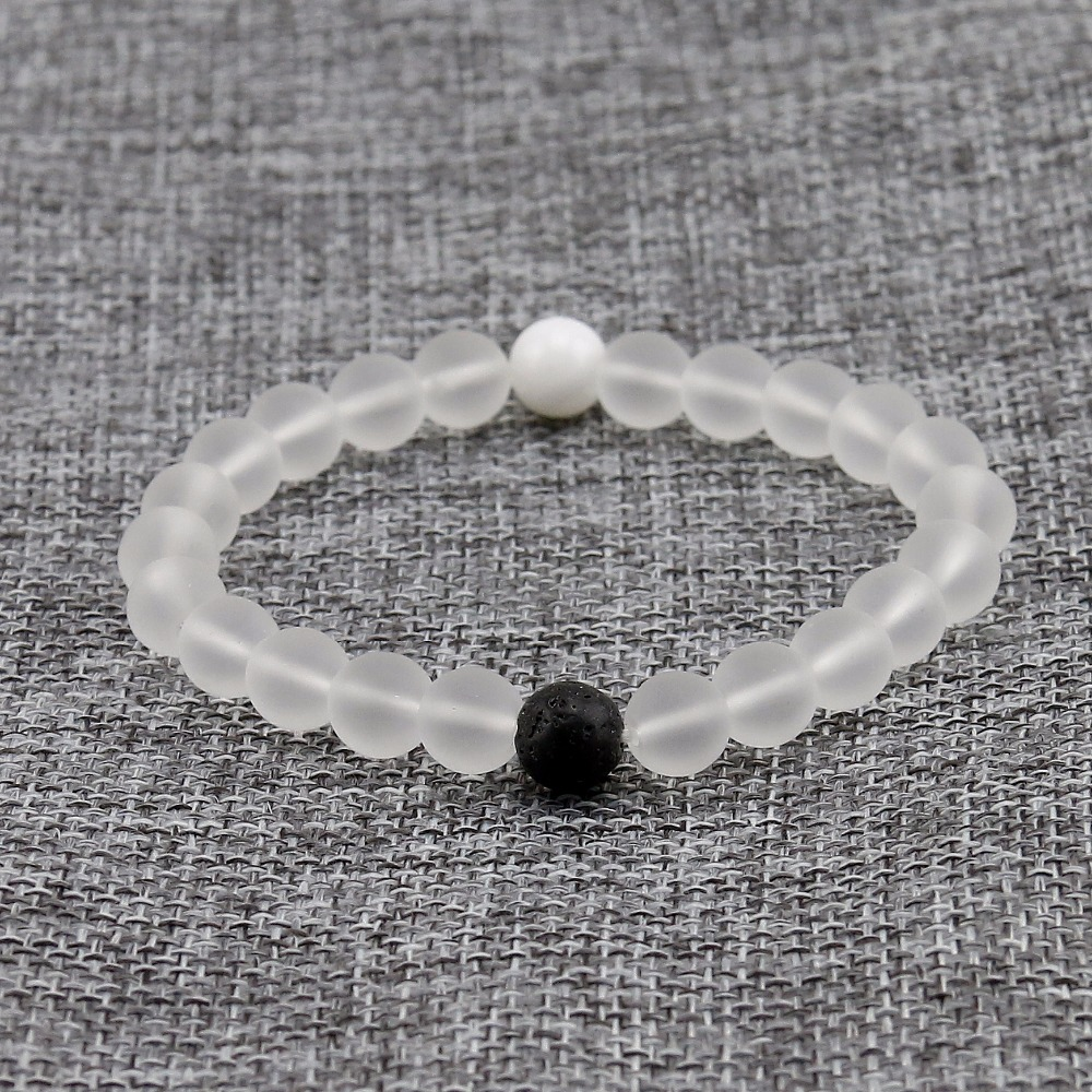 Matte White Crystal Elastic 8mm Natural Stone Bracelet 3