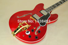 Classic half hollow jazz electric guitar with wine red instruments