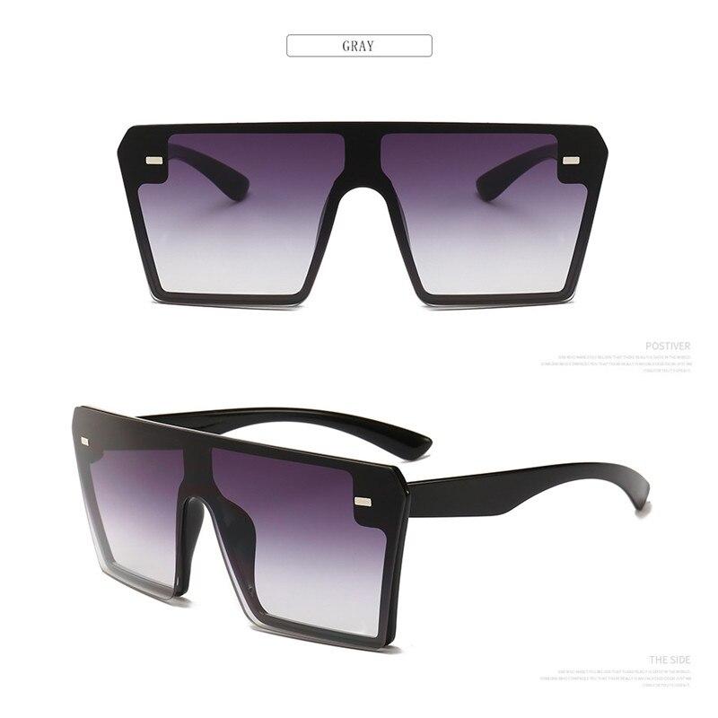 Oversized Square Sunglasses Women 2021 Luxury Brand Fashion Flat Top Red Black Clear Lens One Piece Men Gafas Shade Mirror UV400