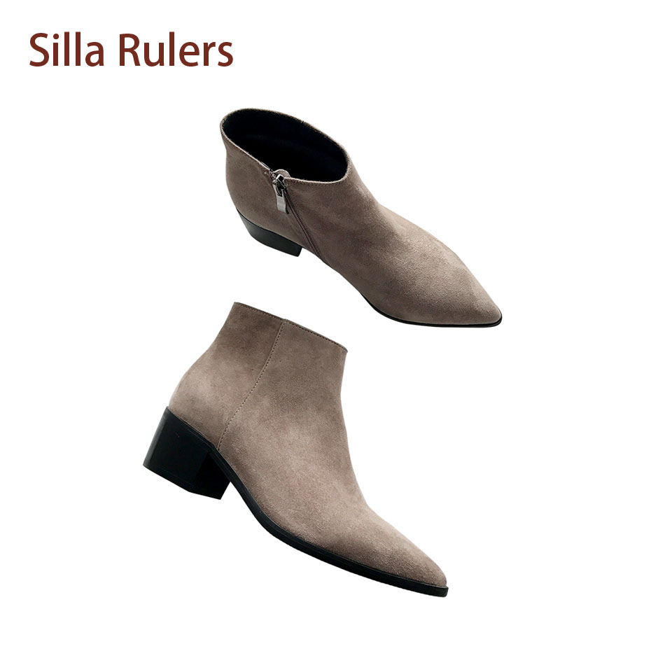 Silla Rulers 2018 Flock Women Nude Boots Side Zipper 4.5cm Med Block heel Comfortable Fashionable Chelsea Bootie Femme