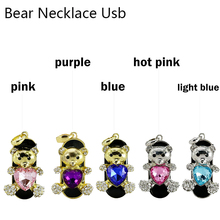 Crystal heart bear Model USB 2.0 Flash Memory Stick cartoon diamond necklace bear Pen Drive 64GB 8GB 16GB 32GB usb flash disk