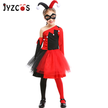 JYZCOS Suicide Squad Joker Harley Quinn Cosplay Costume Halloween Costumes for Kids Girl Clown Costume Carnival Party Costume цена