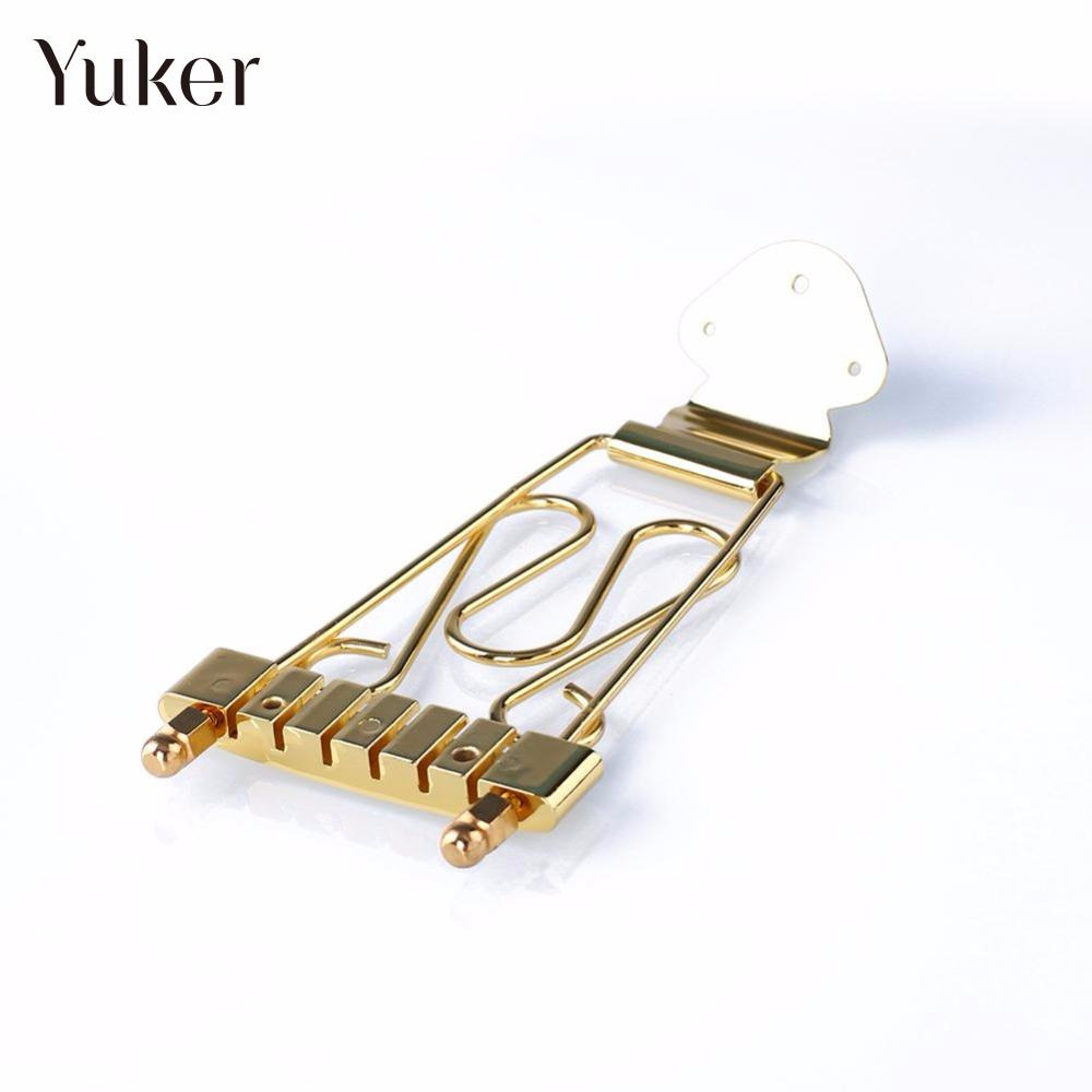 Yuker Gold 6 String Jazz Archtop Guitar Trapeze Tailpiece with Wired Frame Hollow Semi Hollow Electric Guitar new arrival g custom l5 jazz guitar ces archtop semi hollow electric guitar orange color in stock free shipping
