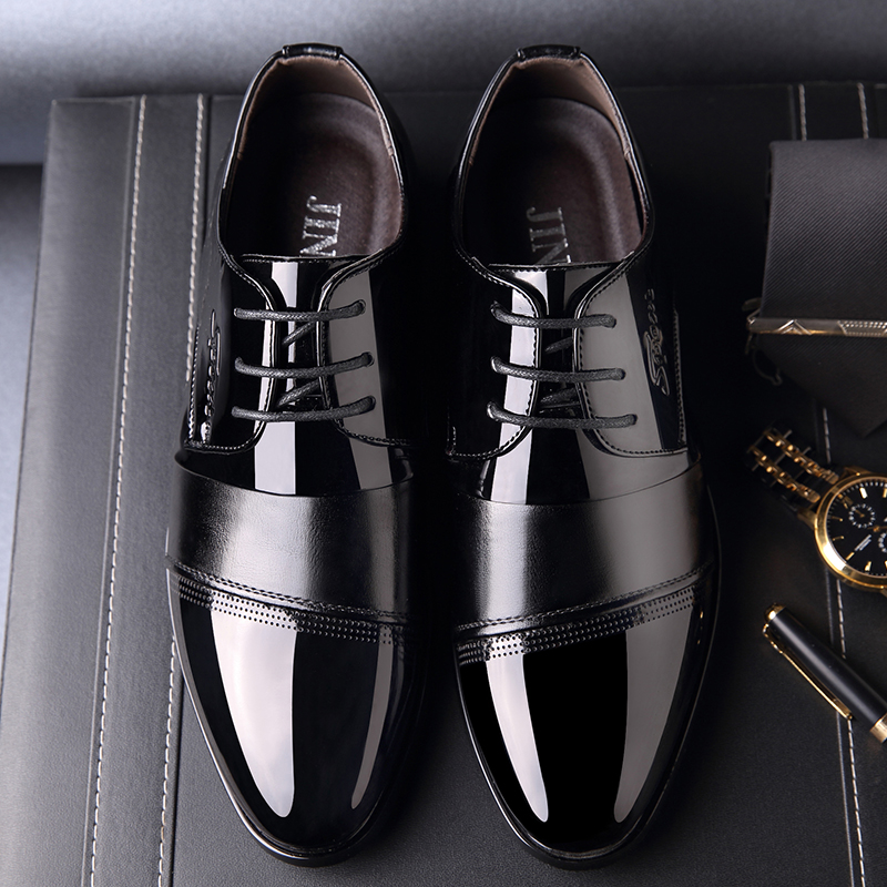 OSCO New 2018 Business Dress Men Formal Shoes Wedding Pointed Toe Fashion PU Leather Shoes Flats Oxford Shoes For Men new 2017 black leather men dress shoes men s flats formal business shoes wedding dresses shoes oxford shoes slip on round toe