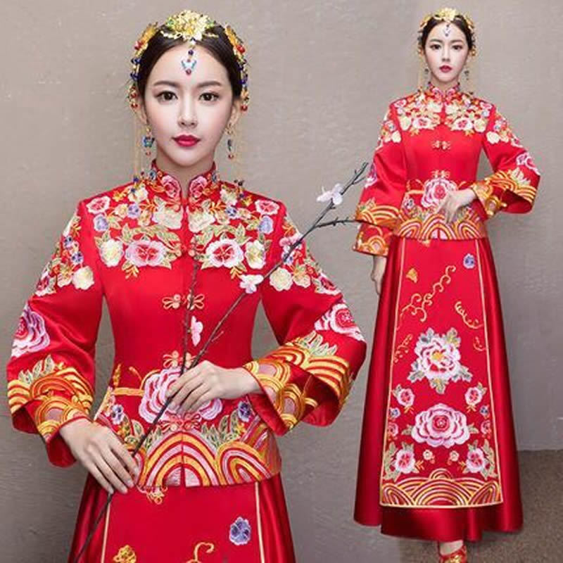 Red Embroidery Flowers Bride Long Cheongsam Dragon Dress