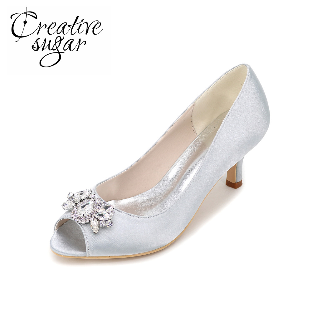 Creativesugar Elegant open toe woman satin dress shoes with queen diamond crystals charm lady kitten heels party wedding shoes цена