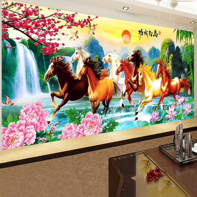 5D DIY Diamond Embroidery, Diamond Painting, Full Pasting Cross Stitch Kit, Animal, Horse, Diamond Needlework Crafts Home Decor