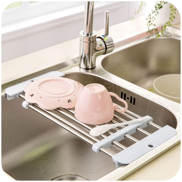 Superieur Japanese Kitchen Sink Stainless Steel Drain Retractable Shelf Vegetables  Bowls Dishes Storage Drain Rack