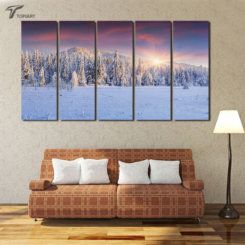 Large Canvas Print Snow Pine Forest Painting Winter Landscape Wall Art  Picture For Living Room Gift Decoration Home Paintings