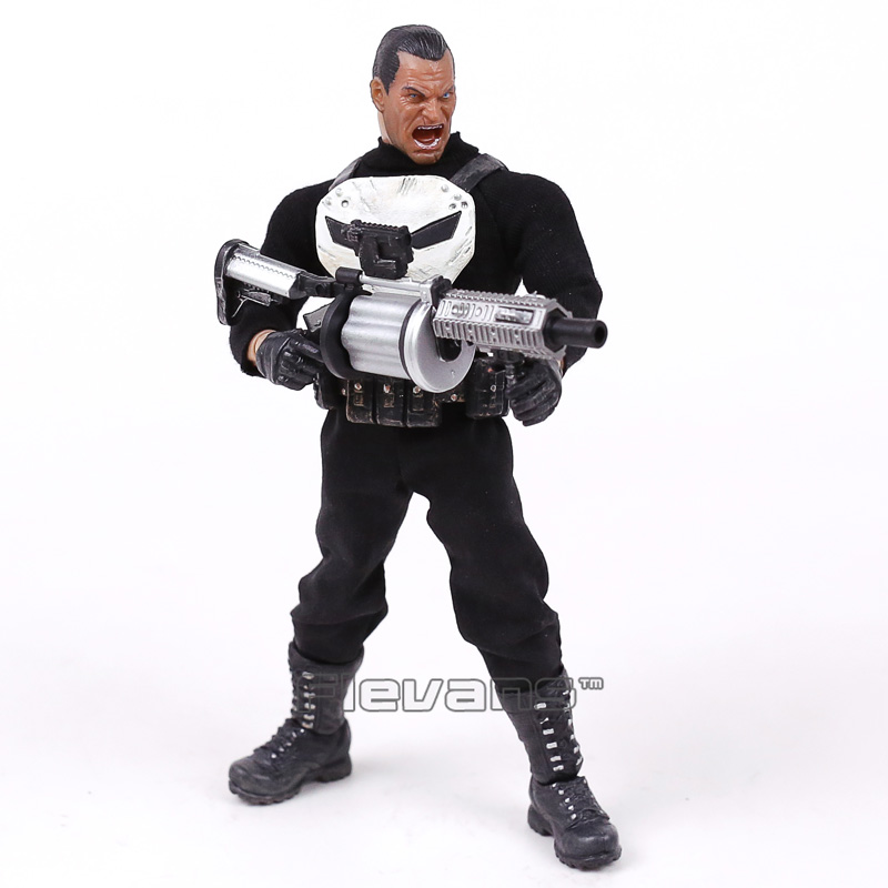 MEZCO The Punisher 1/12 Scale PVC Action Figure Collectible Model Toy (real clothes) 16cm new hot christmas gift 21inch 52cm bearbrick be rbrick fashion toy pvc action figure collectible model toy decoration