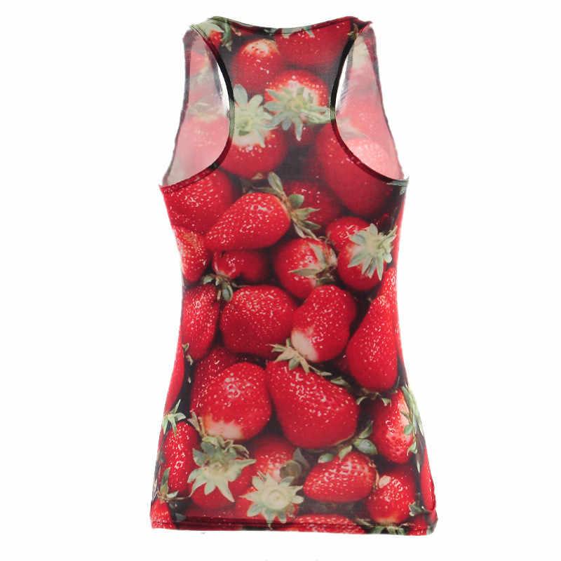 Tops nuevos de verano para mujer Top sin mangas con estampado digital fruta fresa dulce camiseta sin mangas camisola Blusas S-XXXXL