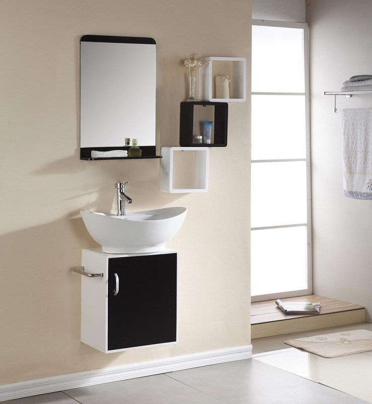 white and black small bathroom vanity  Wall Mounted  bathroom vanity 0283-1048