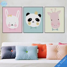 Kawaii Cute Animal Poster Print Modern Nordic Cartoon Nursery Wall Art Picture Kids Baby Room Decor Canvas Painting No Frame