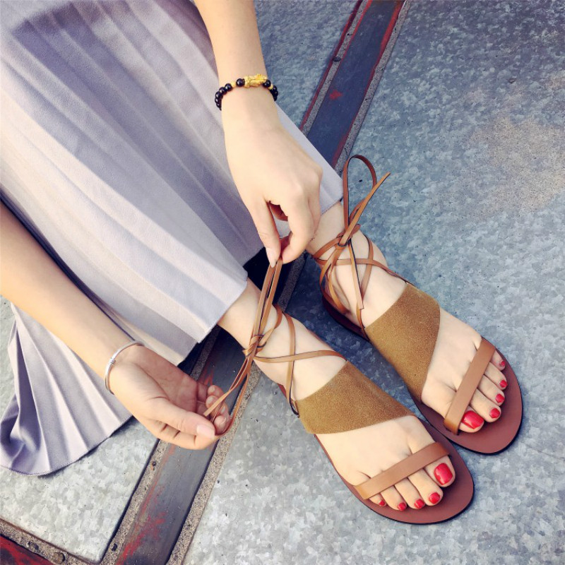 Women Sandals 2017 New Ankle Strap Flat Heel Women Gladiator Shoes Solid Color Rome Style Summer Shoes for Woman Sexy Fashion phyanic summer style shoes woman 2017 new gladiator sandals platform flats fashion creepers women flat shoes 3 colors phy4044