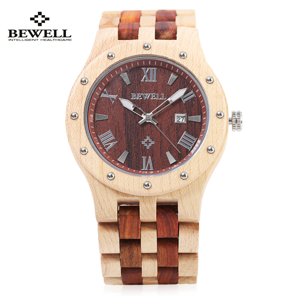 BEWELL Wooden Watch Men Wood Auto Date Wristwatch Men's Quartz Watch Top Brand Luxury Watches Men Clock with Paper Box 109A bewell multifunctional wooden watches men dual time zone digital wristwatch led rectangle dial alarm clock with watch box 021a