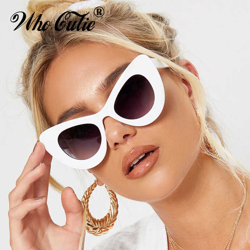 ac1dd10c603 WHO CUTIE 2018 Peak Cat Eye Sunglasses Women Brand Designer 90S Vintage  Thick White Frame Cateye
