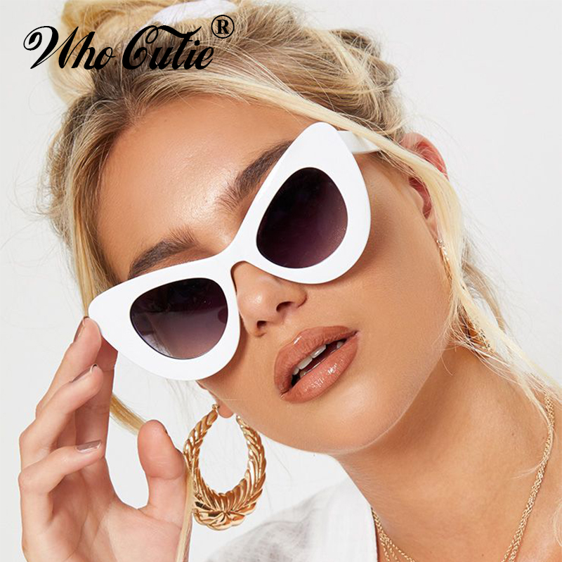 WHO CUTIE 2018 Peak <font><b>Cat</b></font> <font><b>Eye</b></font> <font><b>Sunglasses</b></font> <font><b>Women</b></font> <font><b>Brand</b></font> <font><b>Designer</b></font> 90S Vintage Thick White Frame Cateye Lady Sun Glasses Shades OM499B image