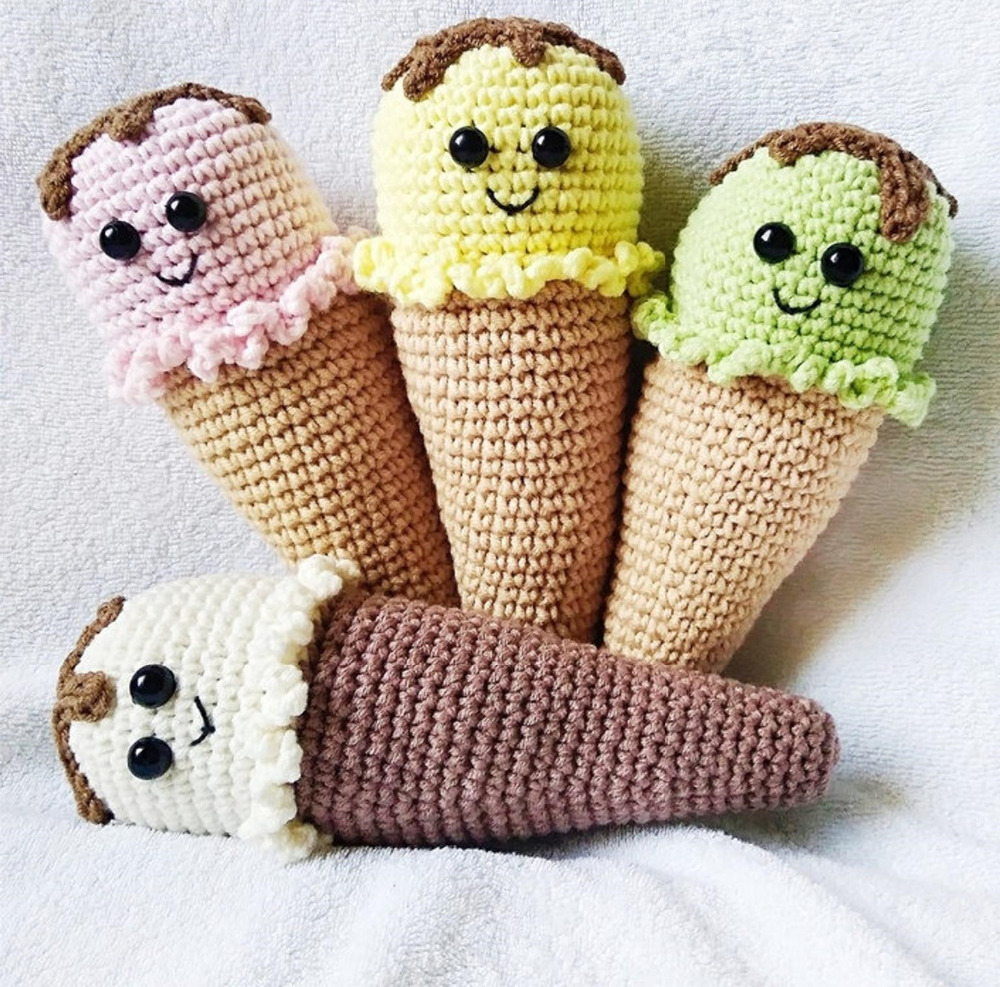 Crochet Toys  Amigurumi    Doll  Icecream Rattle    Model  Number 567810