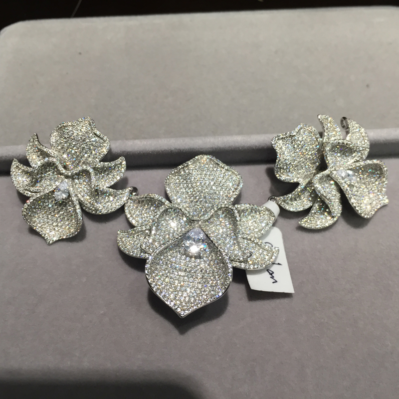 Bijoux à bricoler soi-même trouvailles & composants connecteurs pour collier 3 fleurs orchidée 925 argent avec zircon cubique pavé pierre femmes bijoux - 5