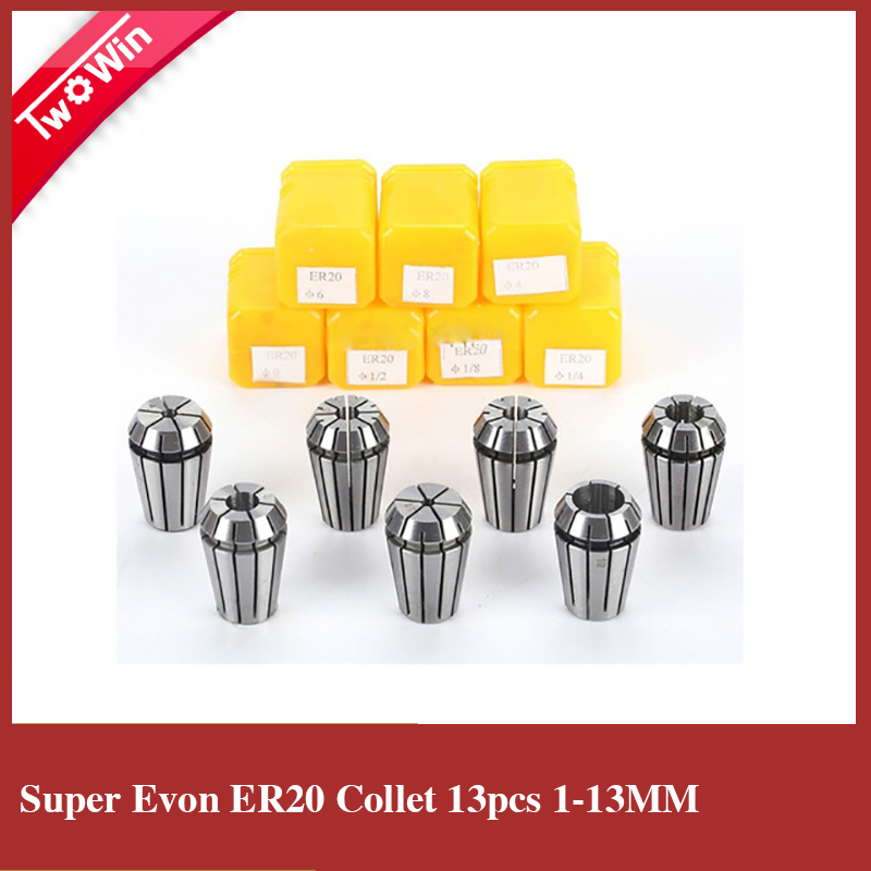 ER20 collets 13pcs from 1mm to 13mm for milling cutters