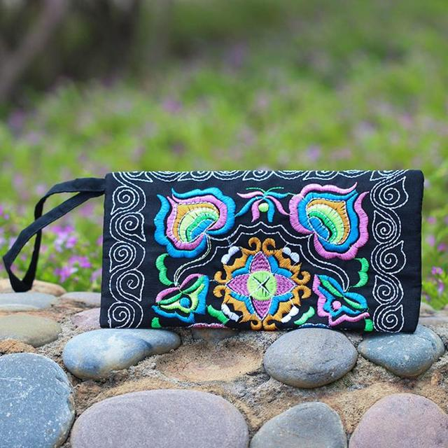 May 31 Mosunx Business Women Ethnic Handmade Embroidered Wristlet Clutch Bag Vintage Purse Wallet #30