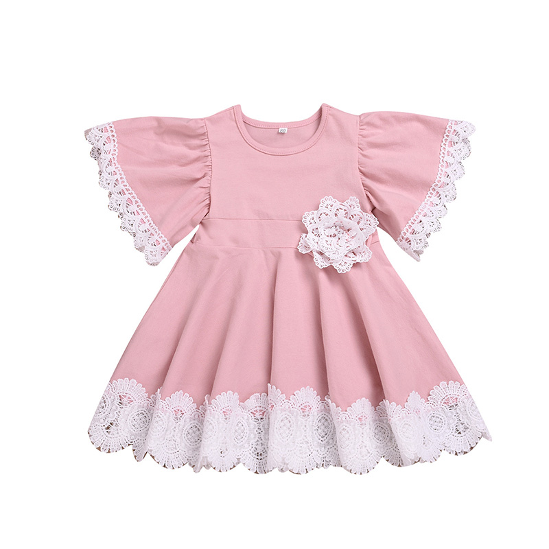 Summer Girl Clothes Pink Dress Baby Party Wedding Child Princess