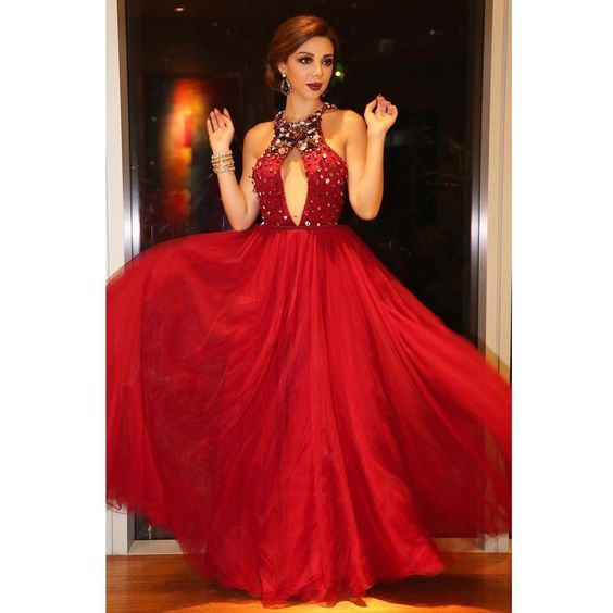 Honey Qiao Myriam Fares Celebrity Dresses 2017 Red Beading Halter Crystal Sequined Arabic Dubai Abiye Elegant Evening Gowns