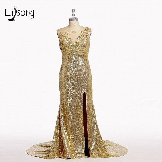 Sparkling Long Bridesmaid Dress with V Neckline Shiny Sequins Lace Mermaid  Side Slit Bridemaid Dress Sheer Back Cheap 07510584f73f