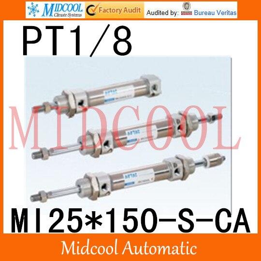 MI série ISO6432 Mini cylindre en acier inoxydable MI25 * 150-S-CA alésage 25mm port PT1/8