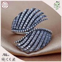 Top Quality Luxurious And Exaggerated Famous Brand 100 Retro 925 Sterling Silver Double Wings Ring