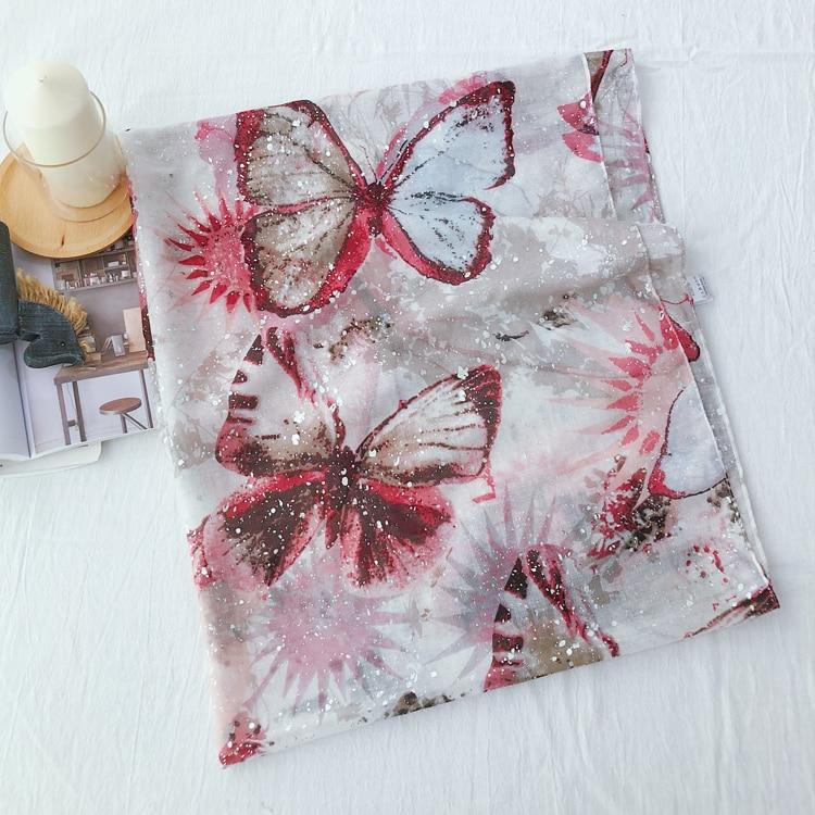 2019 New Fashion Butterfly Print Silver Foil   Scarves   Shawls Beautiful Luxurey   Scarf     Wrap   Hijab Foulard Muffler Free Shipping
