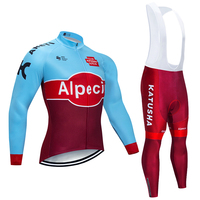 2019 KATUSHA Winter cycling team jersey 9D gel bike pants suit MTB Ropa Ciclismo Thermal fleece bicycling Maillot Culotte wear