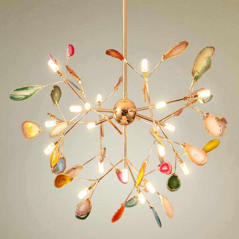 Us 368 0 Post Modern Art Deco Led Agate Chandelier Creative Lamps Luxurious Indoor Lighting Decorative Colorful Lights In