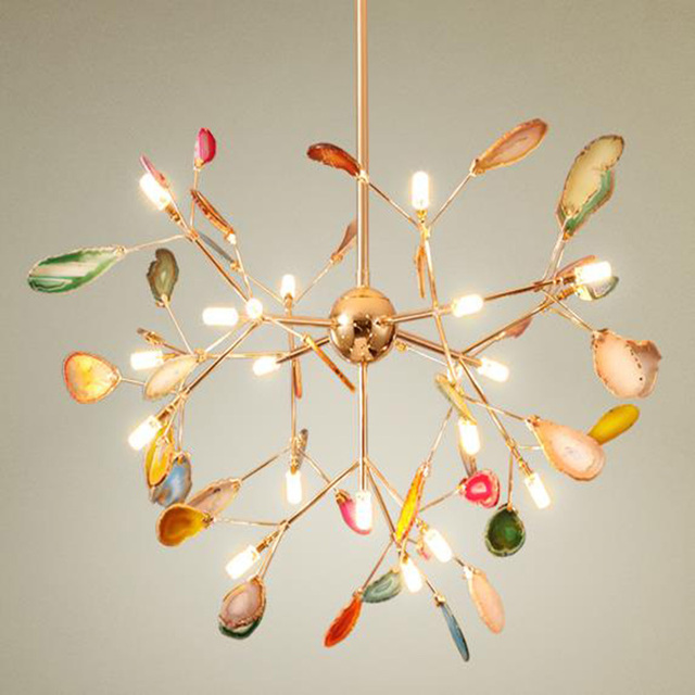Post Modern Art Deco Led Agate Chandelier Creative Lamps Luxurious Indoor Lighting Decorative Colorful Lights