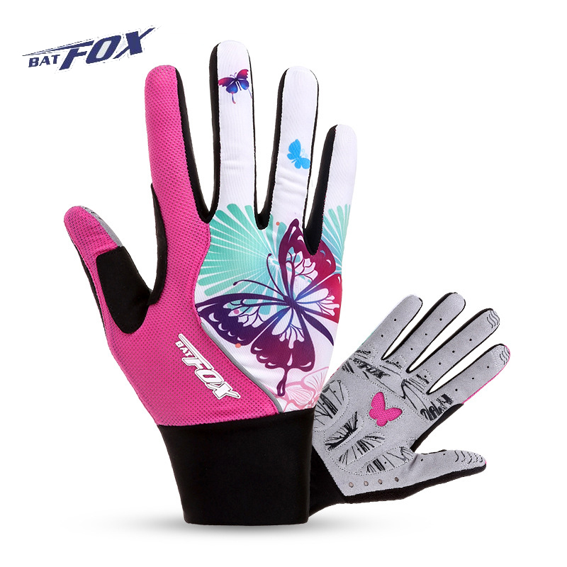 BATFOX Women's Cycling Gloves Full Finger Gel Pad Elastic Bicycle Bike Gloves MTB Sports Gloves Anti-shock Windproof Gloves