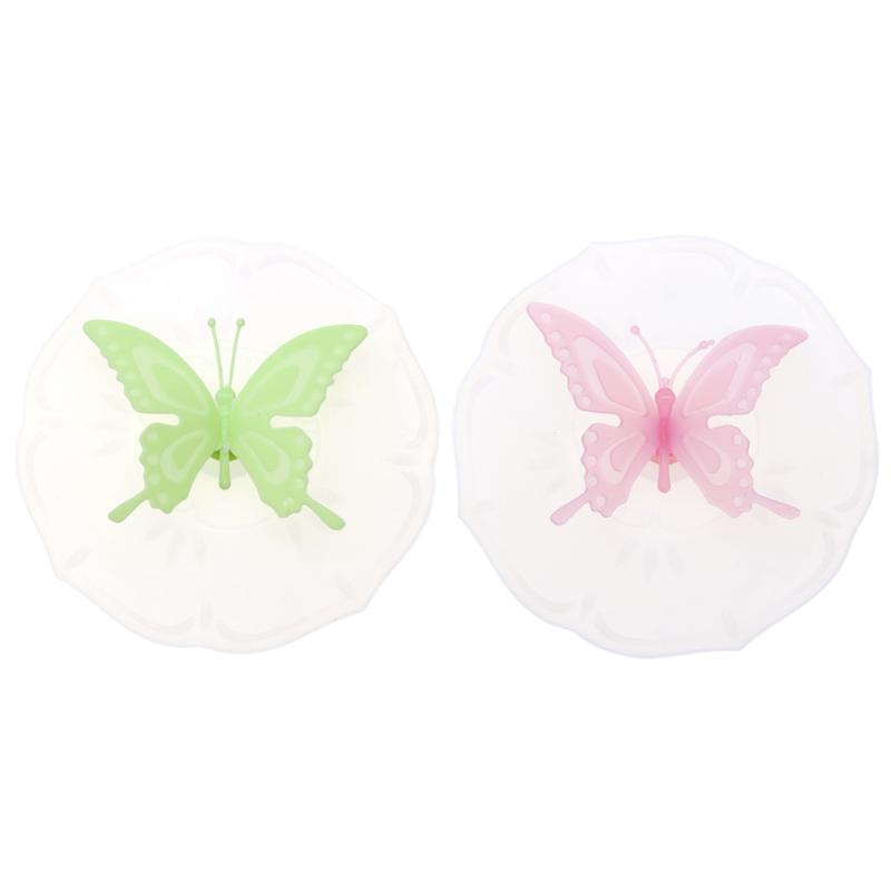 Cartoon Transparent Butterfly Silicone Anti Dust Non Slip Cup Cover Mug Lid Coffee Suction Seal Lid Cap Tea Cup Gifts