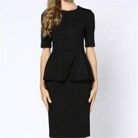 Kobiety Wiosna Jesień Sukienka Czarny Urząd Wear Kobieta Sukienka Panie Suknie Ruffles Konstrukcyjne Zagęścić Plus Rozmiar Xl 2Xl 3Xl A3525