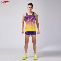 d373c1f2 2017 Survetement Homme 2pcs Men Sport Suits Marathon Vest Shorts Racing  Clothing Track And Field Clothing