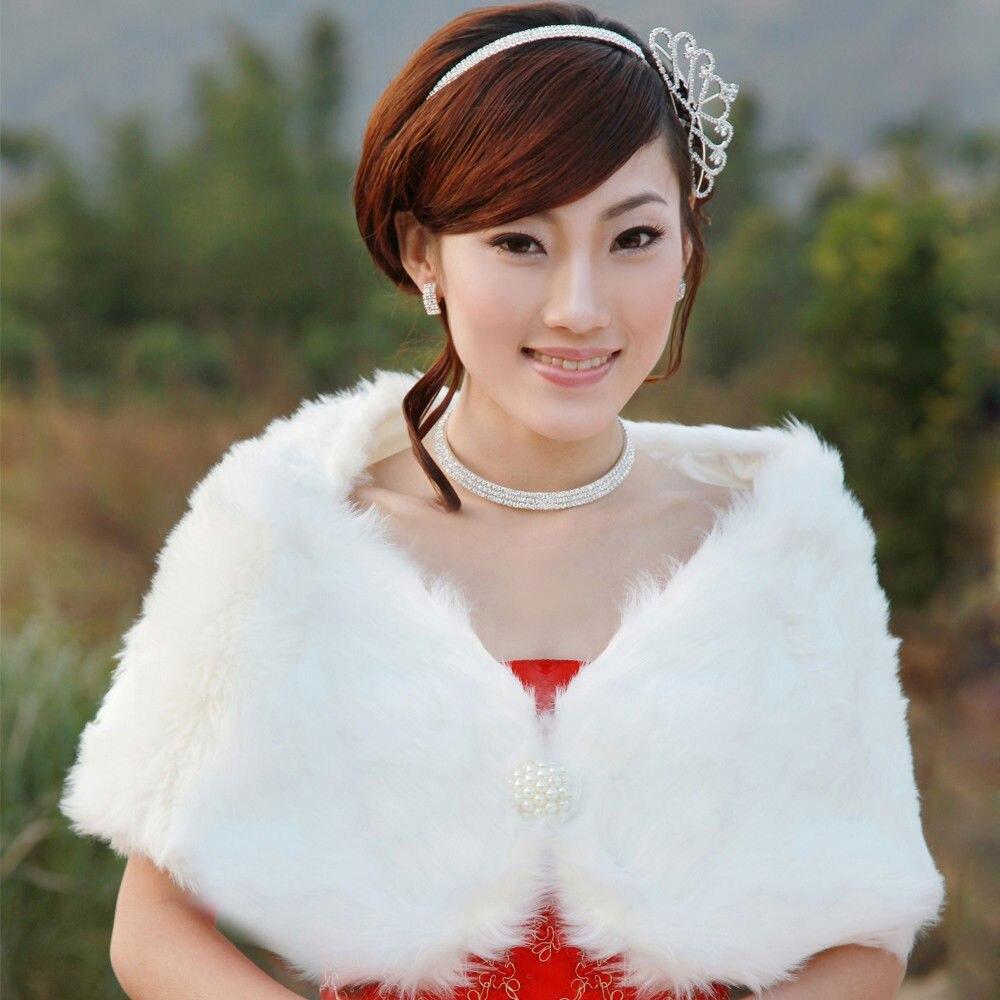 Wedding wrap ivory black pink white winter bridal faux fur for Winter shawls for wedding dresses