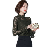 2018 Spring Sexy Lace Tops Women New Blouse Lace Hollow Out Shirt Female Long Sleeved Elegant Women Sexy Shirt Slim Plus Size
