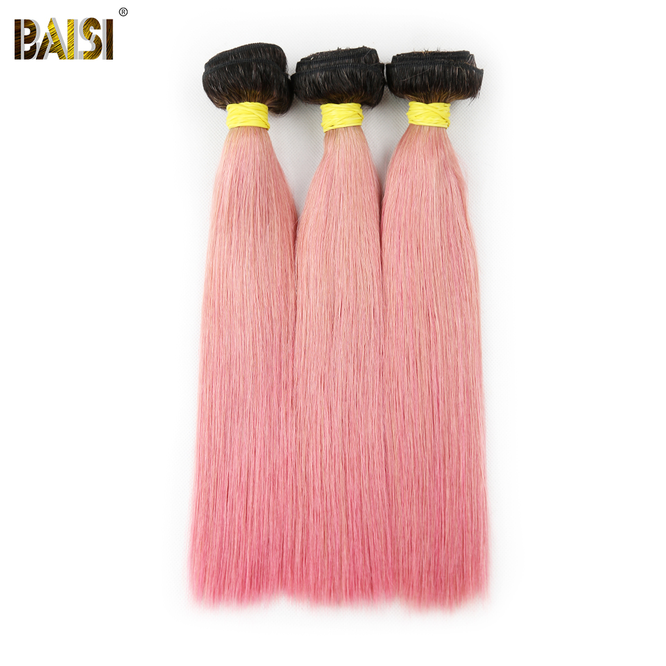 BAISI Peruvian Virgin Hair Straight 3pcs/lot, 1B Roots Pink Color Double Weft 100% Human Hair Weave Free Shipping