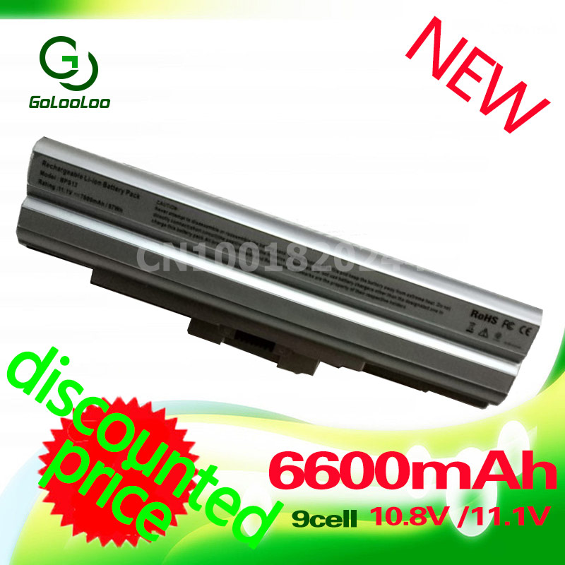 Golooloo 6600mAh Silver Laptop Battery 11.1V for Sony BPS13 BPS21 VGP-BPL21 VGP-BPL13 for Sony PCG VAIO SVE Series VPC-F VPC-M