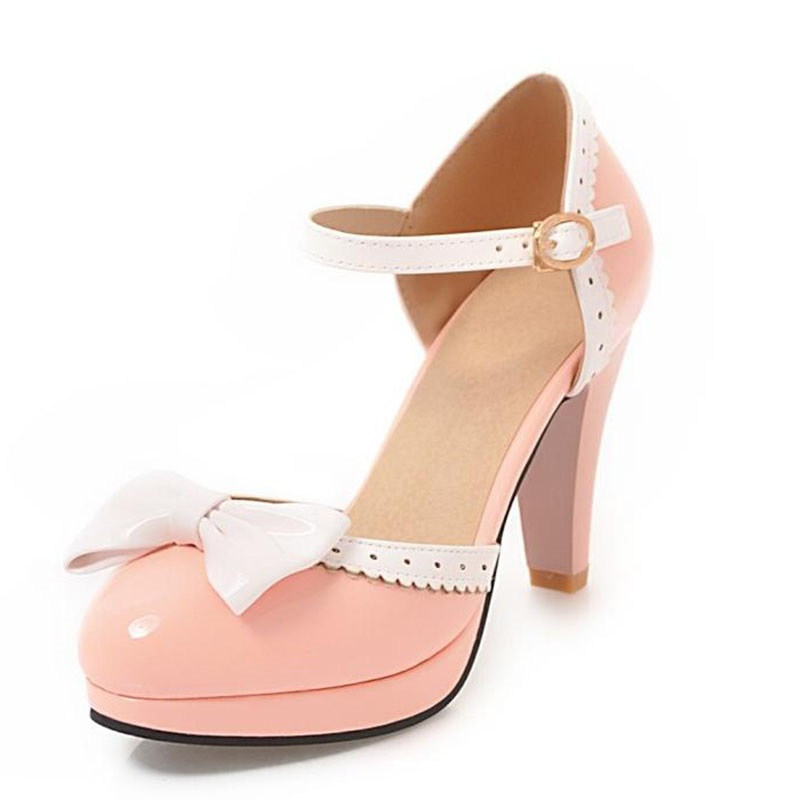 Womens Chunky Heel Bowknot Lolita Sweet Candy Ankle Strap Sandal Flats Oxfords
